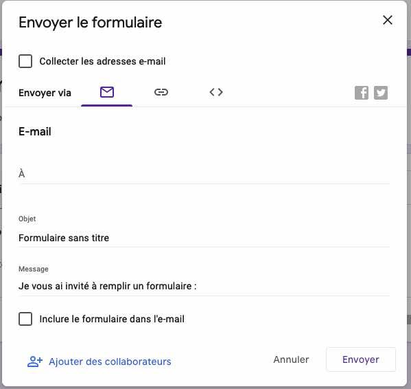 envoi formulaire enquete google doc