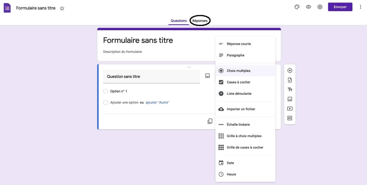 envoi formulaire enquete google doc par email
